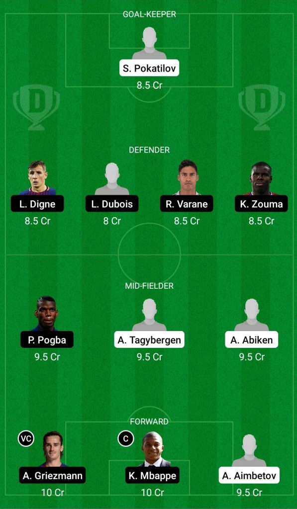 Kazakhstan Vs France Dream11 Team