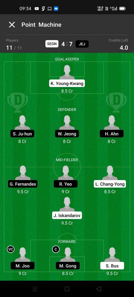 SEGN Vs JEJ Dream11 Team