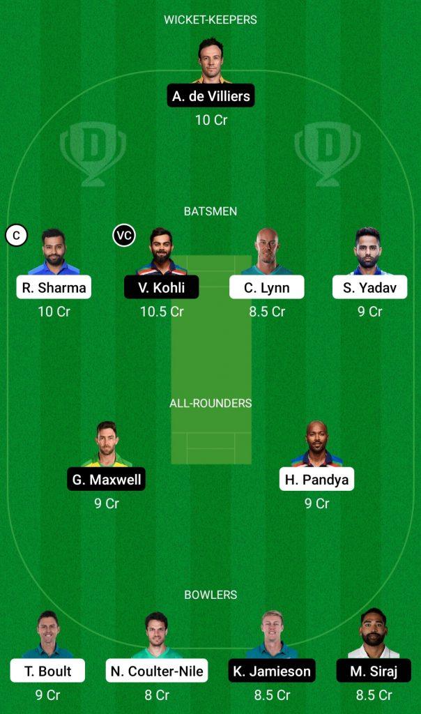 Mumbai Vs RCB Dream11