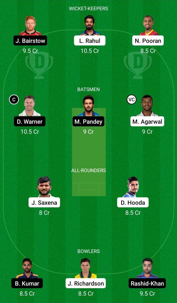 PBKS Vs SRH Dream11 Team