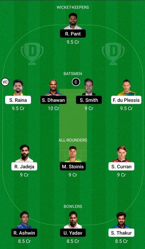 csk vs delhi dream11 team